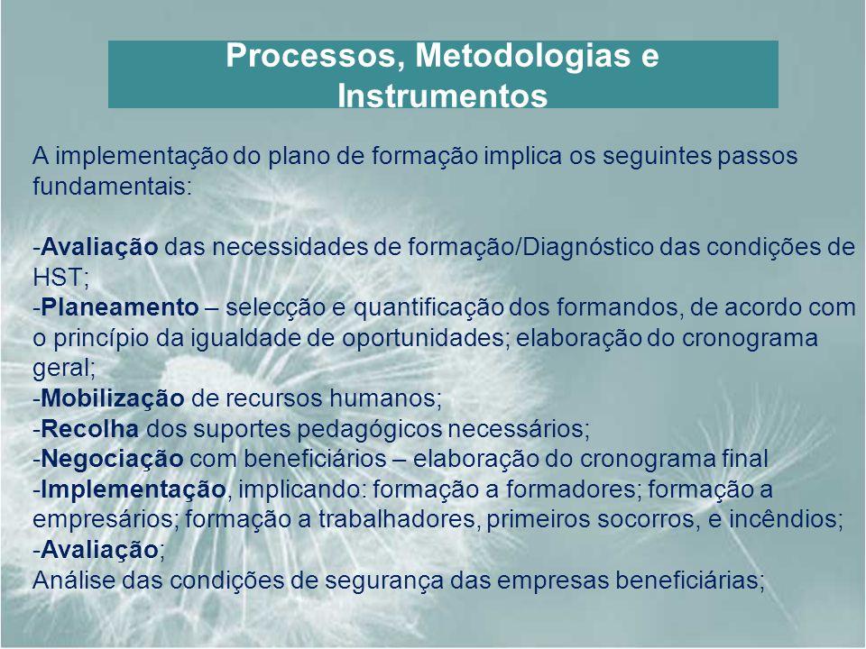 Processos, Metodologias e Instrumentos A implementação do plano de formação implica os seguintes passos fundamentais: -Avaliação das necessidades de f