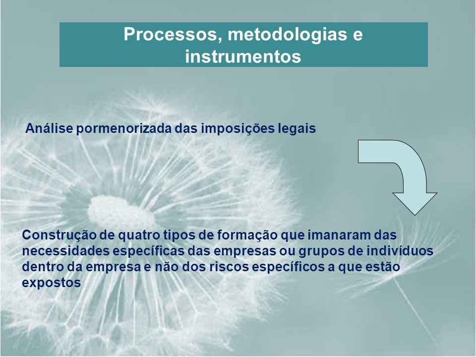 Processos, metodologias e instrumentos Análise pormenorizada das imposições legais Construção de quatro tipos de formação que imanaram das necessidade