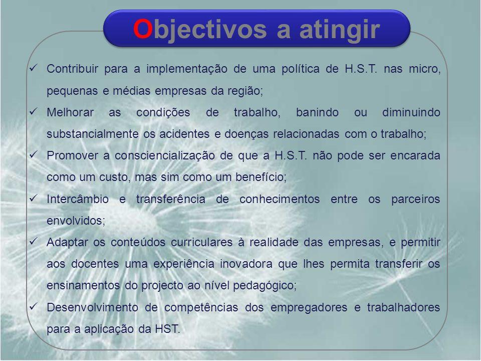 Contribuir para a implementação de uma política de H.S.T. nas micro, pequenas e médias empresas da região; Melhorar as condições de trabalho, banindo