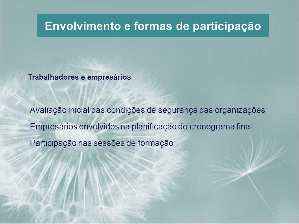 Envolvimento e formas de participação Trabalhadores e empresários Avaliação inicial das condições de segurança das organizações Empresários envolvidos
