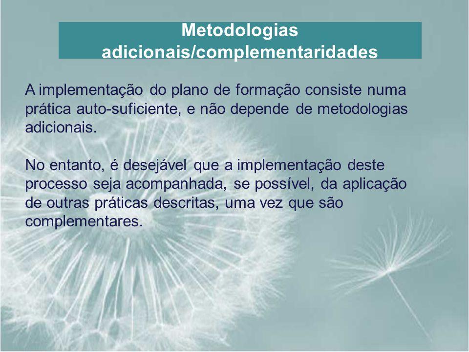 Metodologias adicionais/complementaridades A implementação do plano de formação consiste numa prática auto-suficiente, e não depende de metodologias a