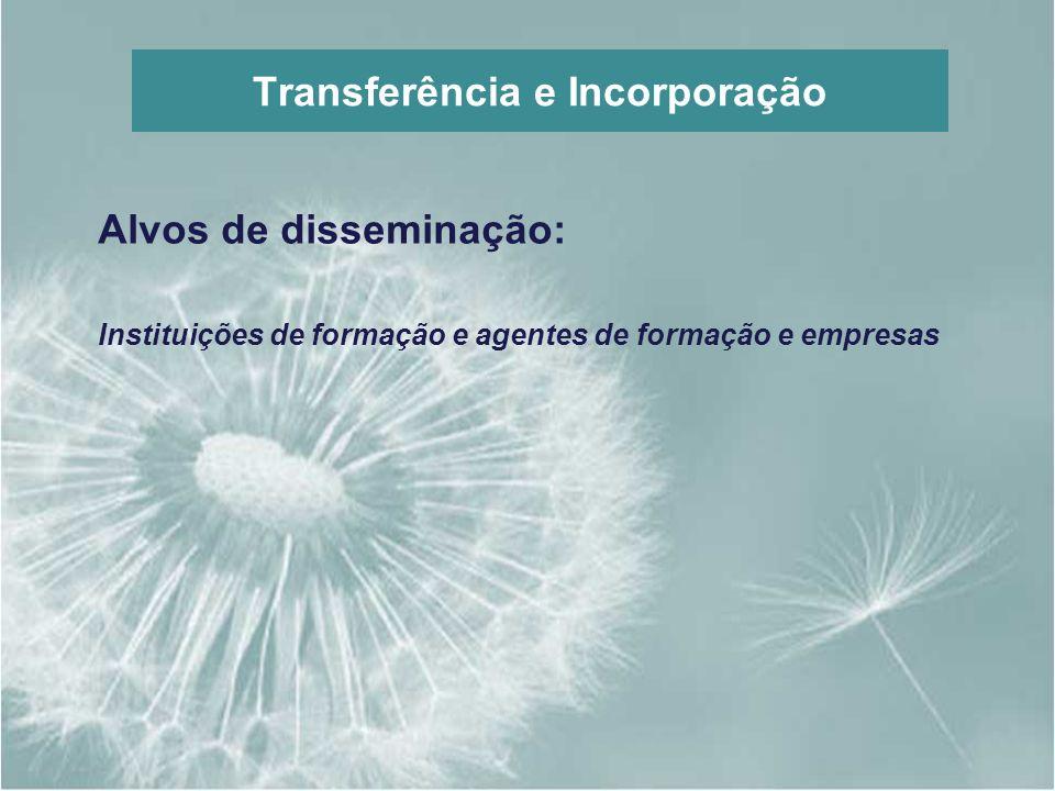 Transferência e Incorporação Alvos de disseminação: Instituições de formação e agentes de formação e empresas