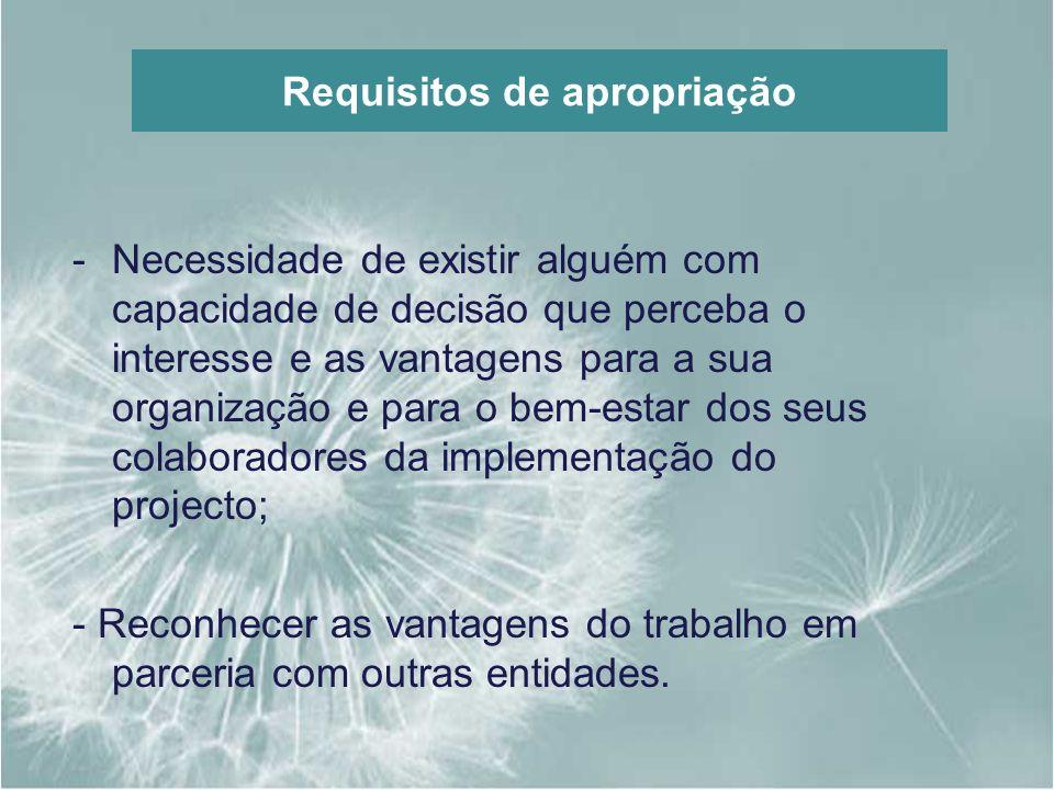 Requisitos de apropriação -Necessidade de existir alguém com capacidade de decisão que perceba o interesse e as vantagens para a sua organização e par