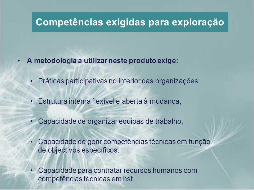 Competências exigidas para exploração A metodologia a utilizar neste produto exige: Práticas participativas no interior das organizações; Estrutura in