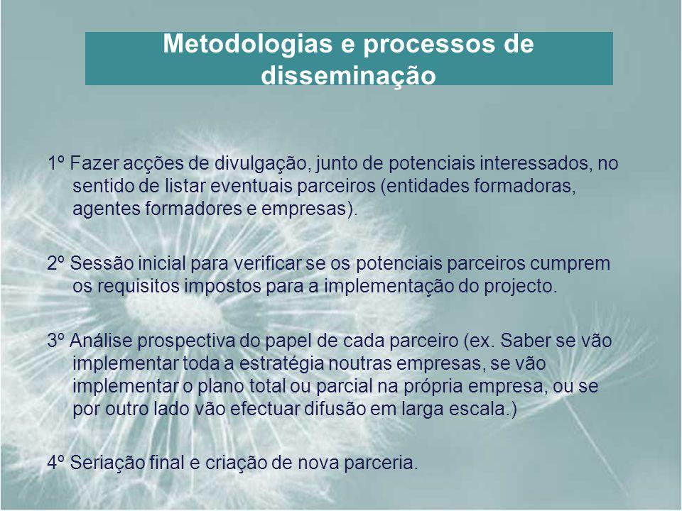 Metodologias e processos de disseminação 1º Fazer acções de divulgação, junto de potenciais interessados, no sentido de listar eventuais parceiros (en