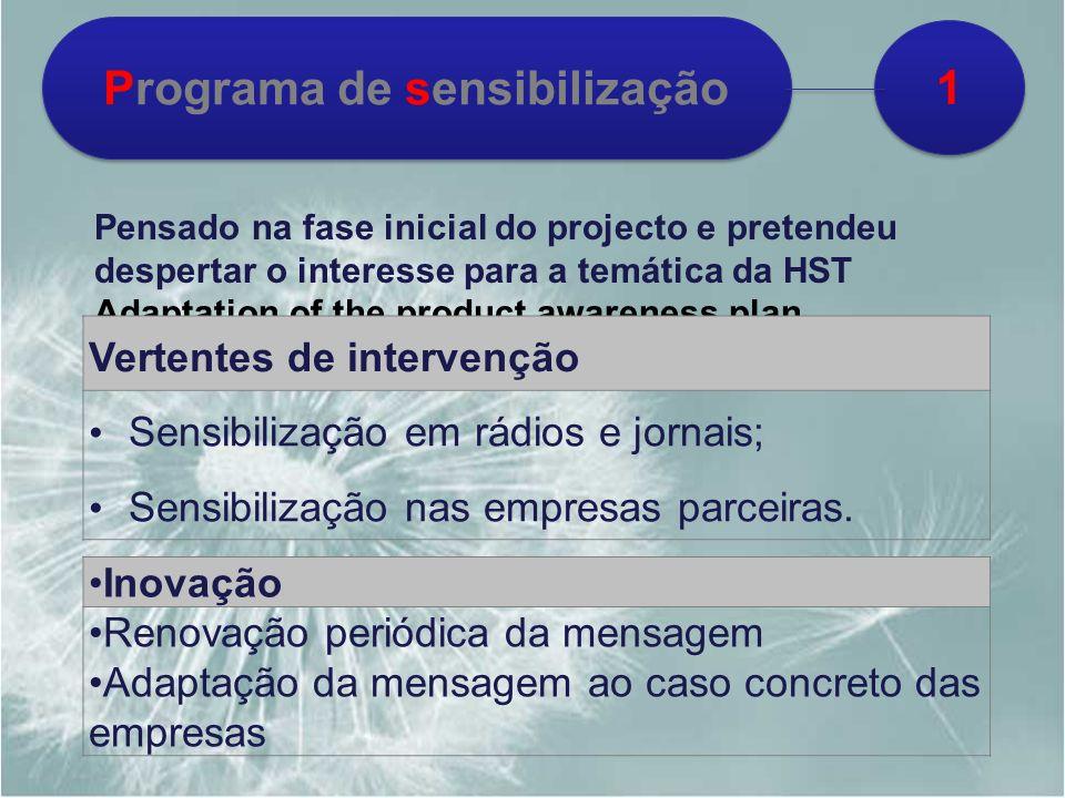 1 1 Programa de sensibilização Pensado na fase inicial do projecto e pretendeu despertar o interesse para a temática da HST Adaptation of the product