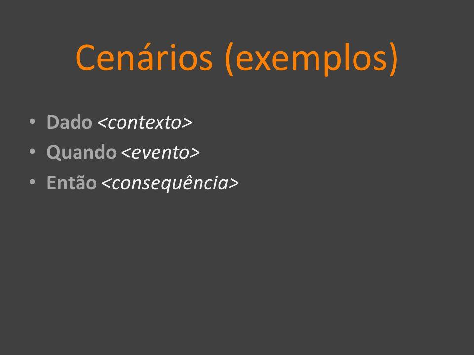 Cenários (exemplos) Dado Quando Então