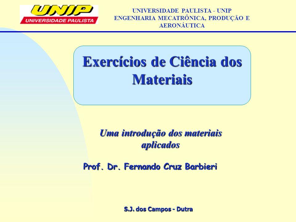 S.J. dos Campos - Dutra Uma introdução dos materiais aplicados Prof. Dr. Fernando Cruz Barbieri UNIVERSIDADE PAULISTA - UNIP ENGENHARIA MECATRÔNICA, P