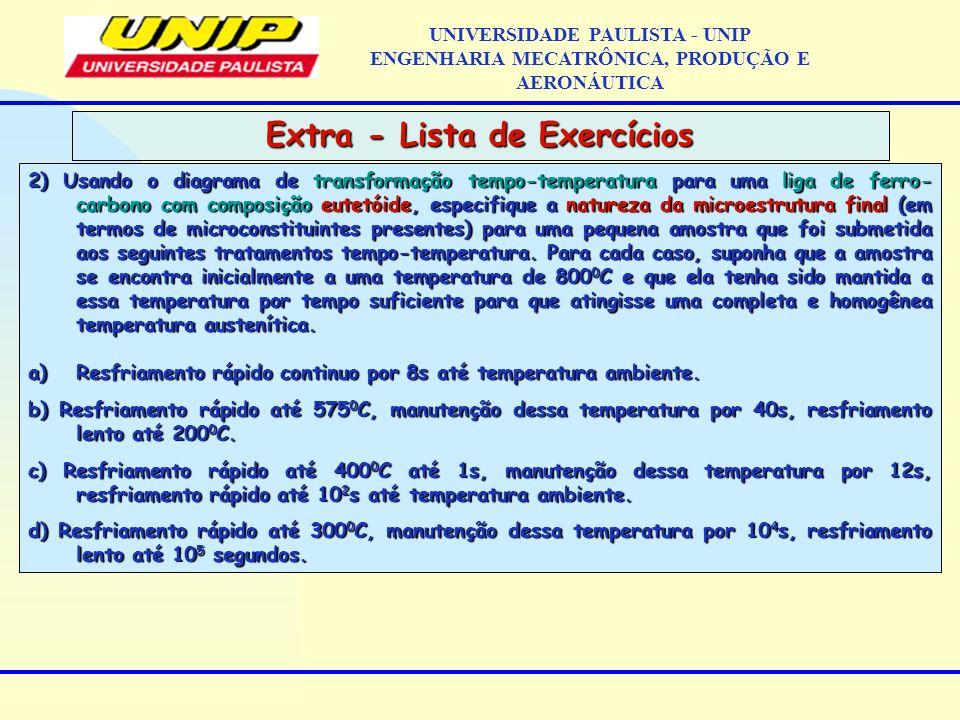 Extra - Lista de Exercícios UNIVERSIDADE PAULISTA - UNIP ENGENHARIA MECATRÔNICA, PRODUÇÃO E AERONÁUTICA 2) Usando o diagrama de transformação tempo-te