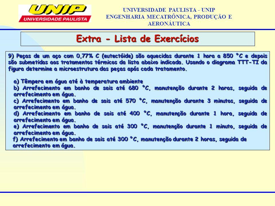 Extra - Lista de Exercícios UNIVERSIDADE PAULISTA - UNIP ENGENHARIA MECATRÔNICA, PRODUÇÃO E AERONÁUTICA 9) Peças de um aço com 0,77% C (eutectóide) sã