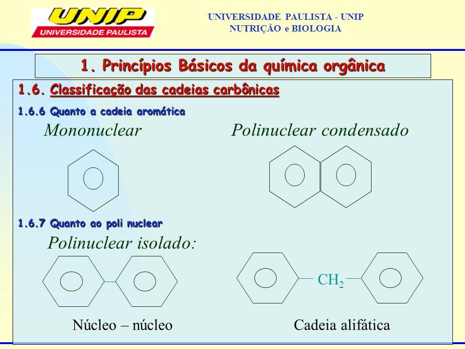 1.6. Classificação das cadeias carbônicas 1.6.6 Quanto a cadeia aromática 1.6.7 Quanto ao poli nuclear 1. Princípios Básicos da química orgânica Monon