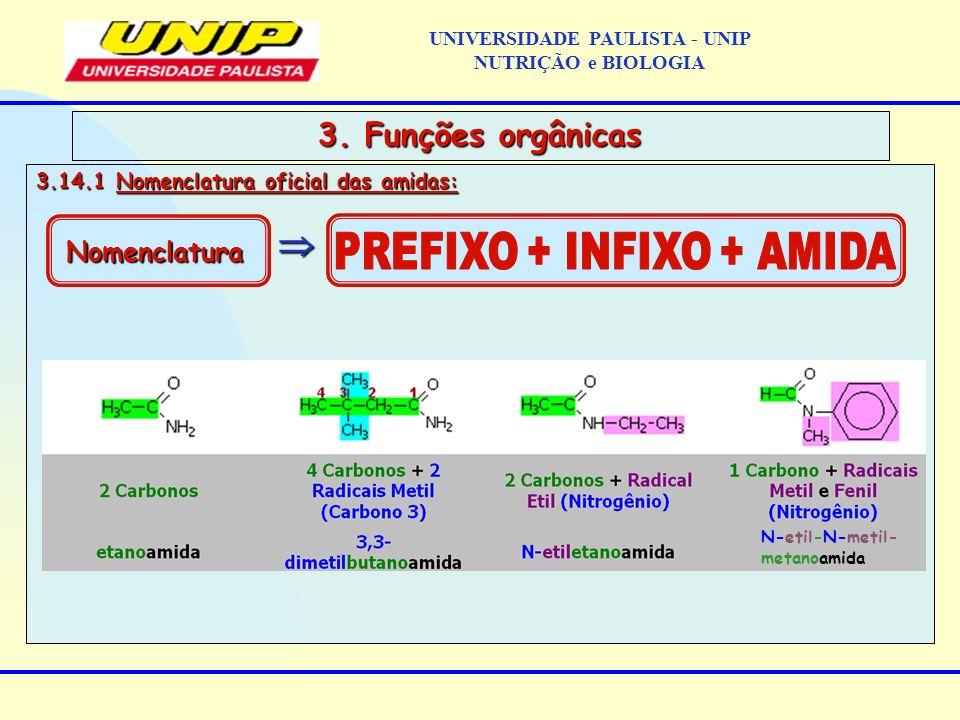 3.14.1 Nomenclatura oficial das amidas: 3. Funções orgânicas Nomenclatura N-etil-N-metil- metanoamida UNIVERSIDADE PAULISTA - UNIP NUTRIÇÃO e BIOLOGIA