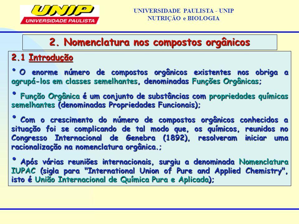 2.1 Introdução O enorme número de compostos orgânicos existentes nos obriga a agrupá-los em classes semelhantes, denominadas Funções Orgânicas; O enor