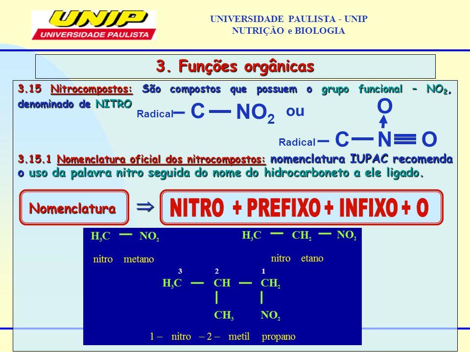 3.15 Nitrocompostos: São compostos que possuem o grupo funcional – NO 2, denominado de NITRO 3.15.1 Nomenclatura oficial dos nitrocompostos: nomenclat