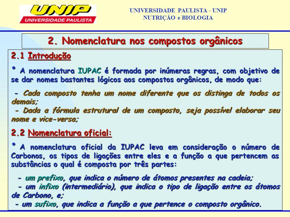 2.1 Introdução A nomenclatura IUPAC é formada por inúmeras regras, com objetivo de se dar nomes bastantes lógicos aos compostos orgânicos, de modo que
