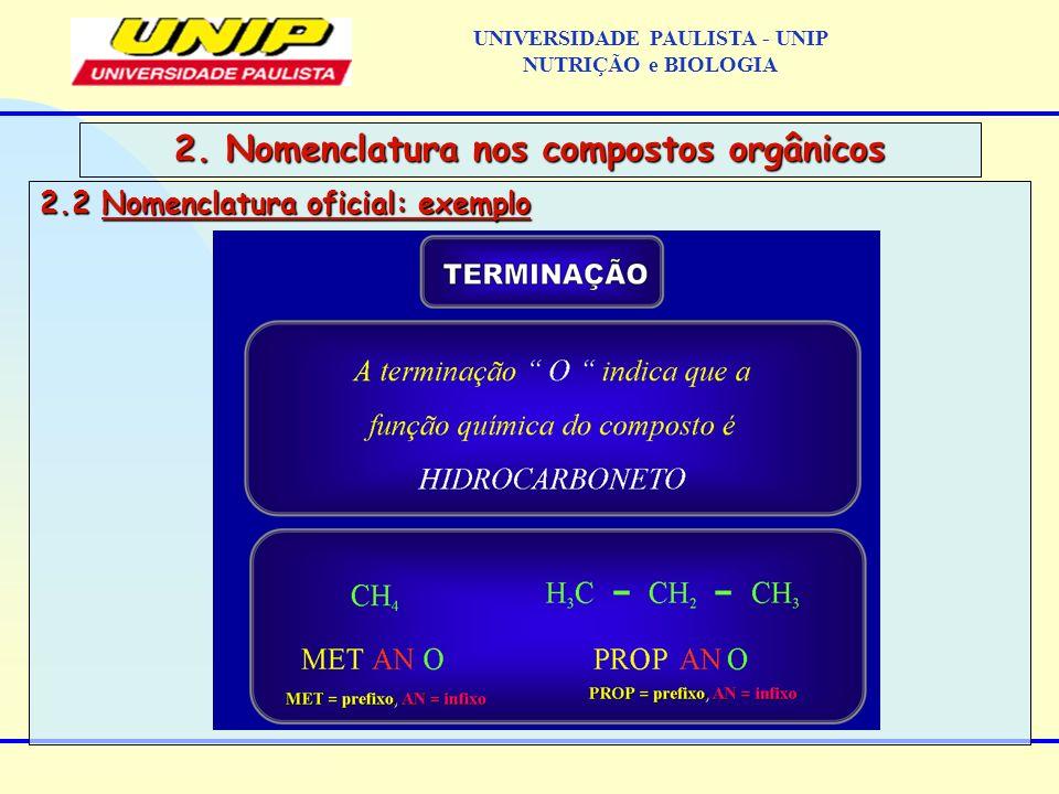 2.2 Nomenclatura oficial: exemplo 2. Nomenclatura nos compostos orgânicos UNIVERSIDADE PAULISTA - UNIP NUTRIÇÃO e BIOLOGIA
