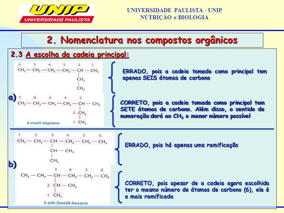 2.3 A escolha da cadeia principal: 2. Nomenclatura nos compostos orgânicos ERRADO, pois a cadeia tomada como principal tem apenas SEIS átomos de carbo