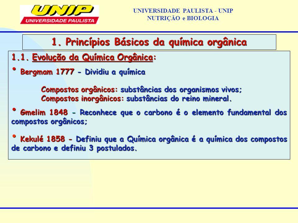 1.1. Evolução da Química Orgânica: Bergmam 1777 - Dividiu a química Bergmam 1777 - Dividiu a química Compostos orgânicos: substâncias dos organismos v