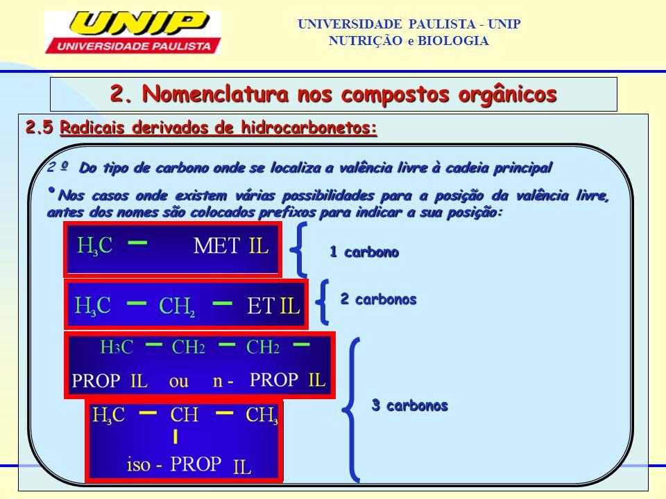 2.5 Radicais derivados de hidrocarbonetos: 2. Nomenclatura nos compostos orgânicos 0 Do tipo de carbono onde se localiza a valência livre à cadeia pri