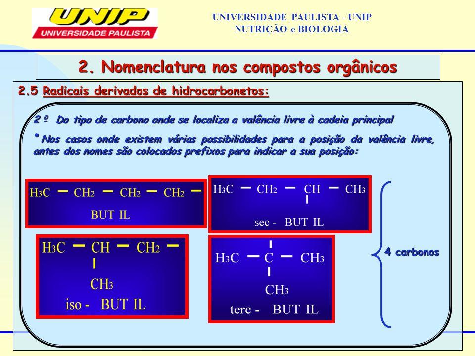 2.5 Radicais derivados de hidrocarbonetos: 2. Nomenclatura nos compostos orgânicos 2 0 Do tipo de carbono onde se localiza a valência livre à cadeia p