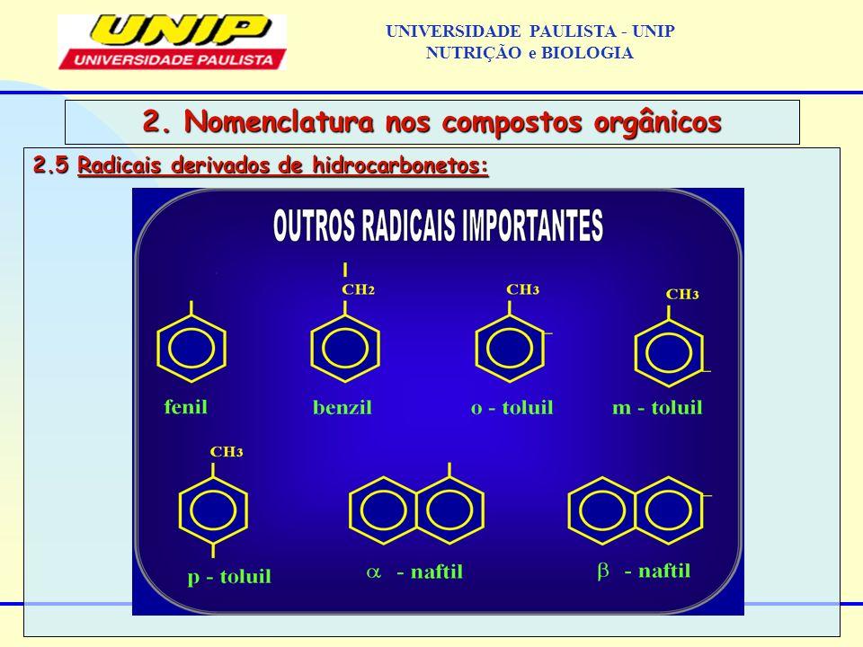2.5 Radicais derivados de hidrocarbonetos: 2. Nomenclatura nos compostos orgânicos UNIVERSIDADE PAULISTA - UNIP NUTRIÇÃO e BIOLOGIA
