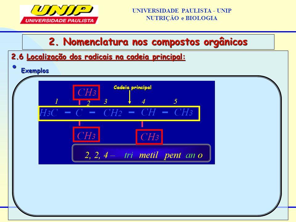2.6 Localização dos radicais na cadeia principal: Exemplos Exemplos 2. Nomenclatura nos compostos orgânicos Cadeia principal UNIVERSIDADE PAULISTA - U