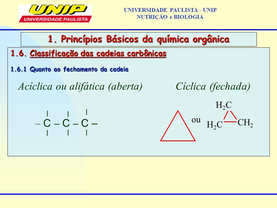 1.6. Classificação das cadeias carbônicas 1.6.1 Quanto ao fechamento da cadeia 1. Princípios Básicos da química orgânica Acíclica ou alifática (aberta
