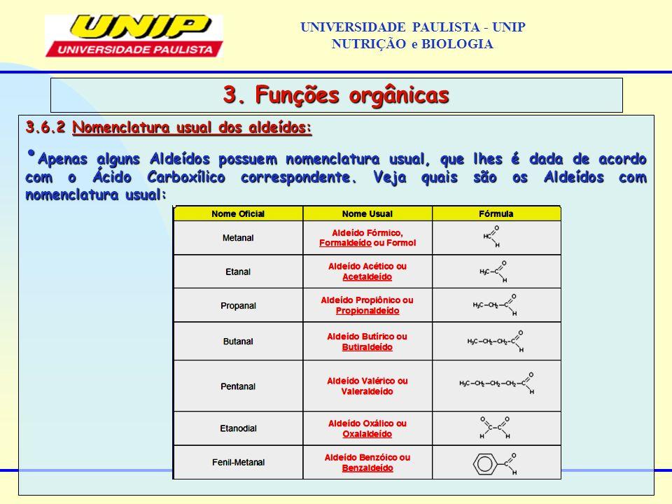 3.6.2 Nomenclatura usual dos aldeídos: Apenas alguns Aldeídos possuem nomenclatura usual, que lhes é dada de acordo com o Ácido Carboxílico correspond