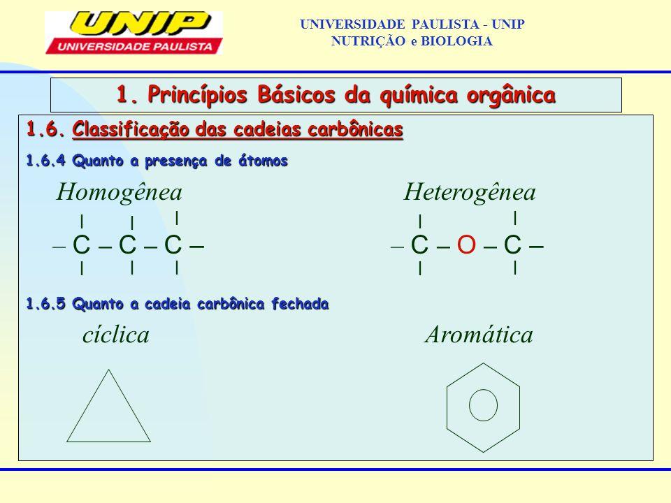 1.6. Classificação das cadeias carbônicas 1.6.4 Quanto a presença de átomos 1.6.5 Quanto a cadeia carbônica fechada 1. Princípios Básicos da química o