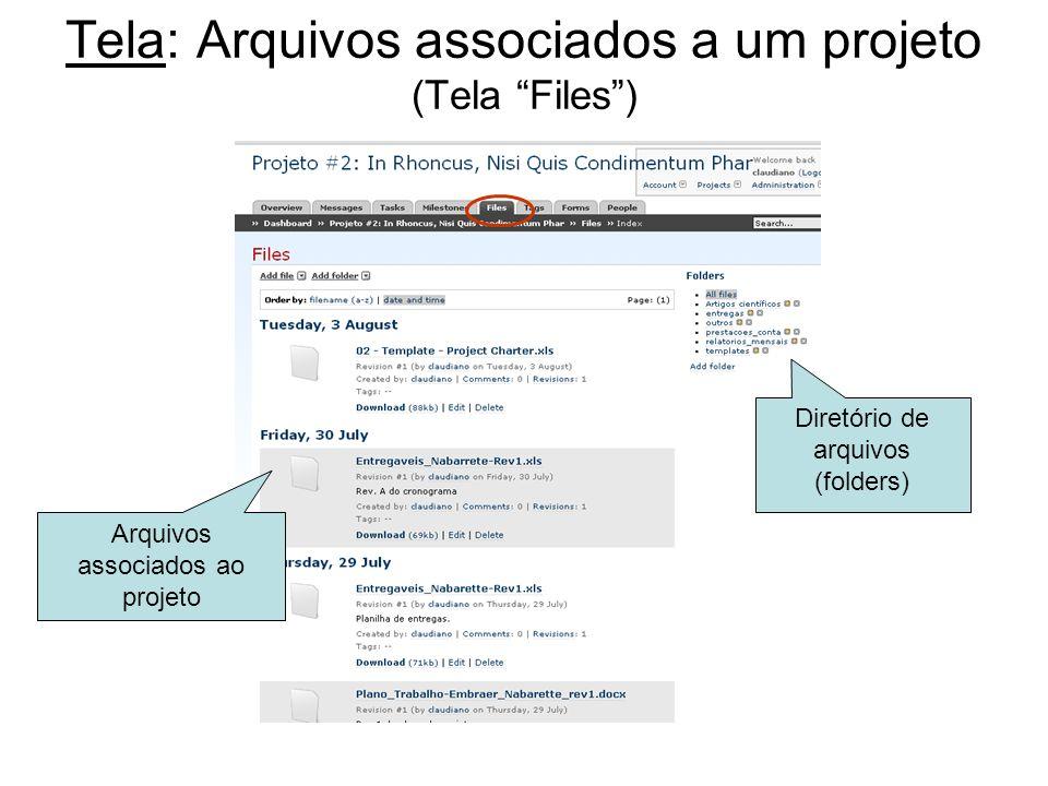 Tela: Arquivos associados a um projeto (Tela Files) Diretório de arquivos (folders) Arquivos associados ao projeto