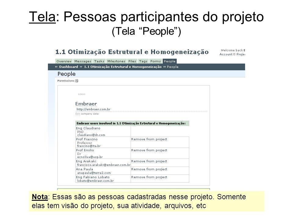 Tela: Pessoas participantes do projeto (Tela People) Nota: Essas são as pessoas cadastradas nesse projeto. Somente elas tem visão do projeto, sua ativ