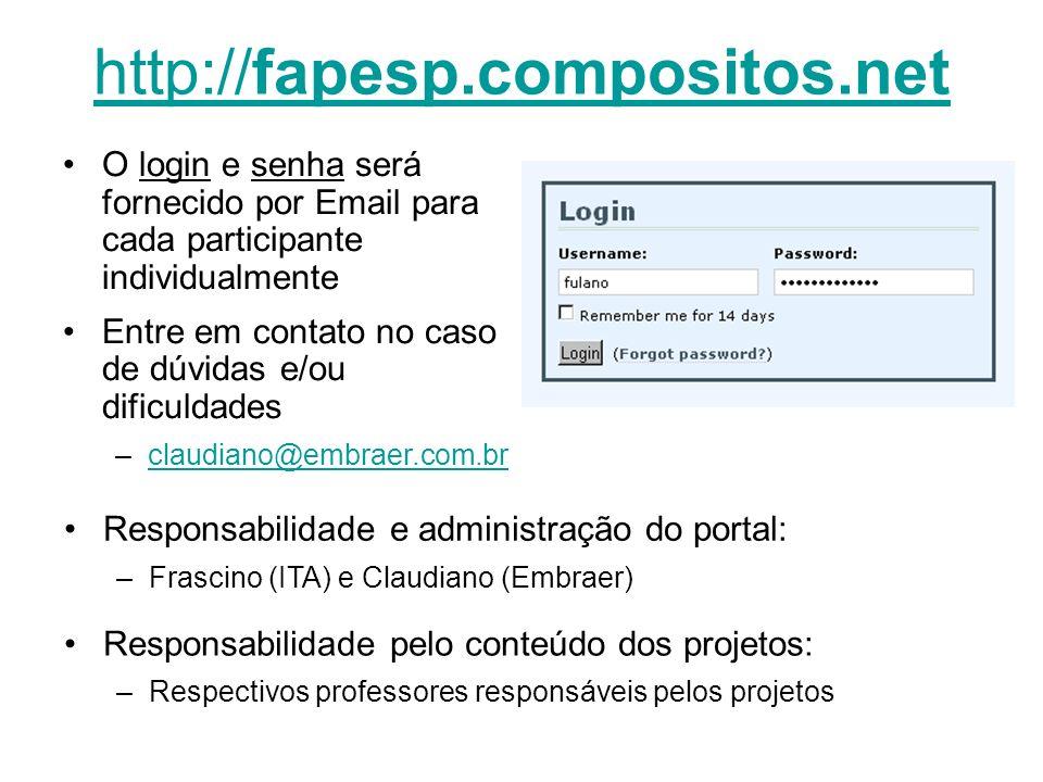 http://fapesp.compositos.net O login e senha será fornecido por Email para cada participante individualmente Entre em contato no caso de dúvidas e/ou