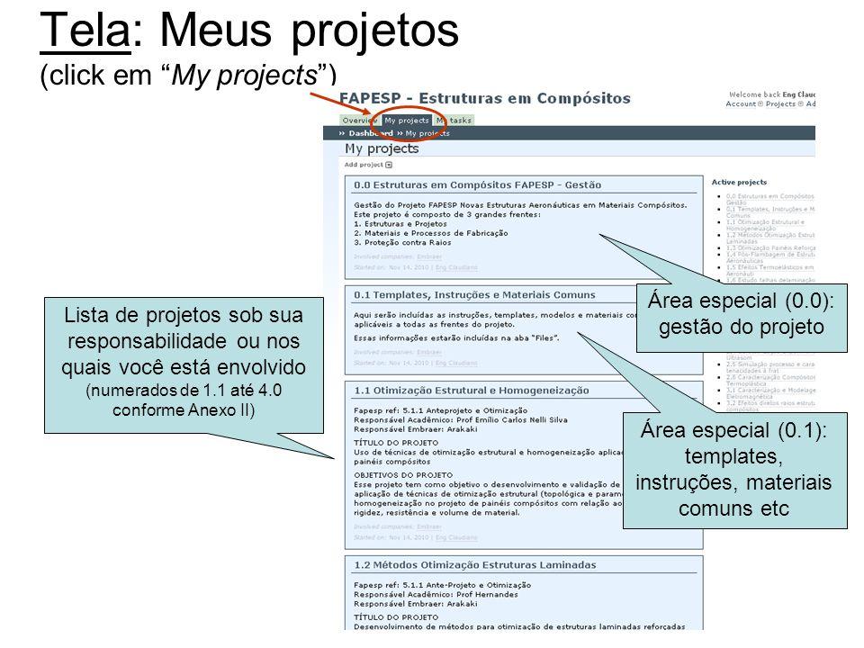 Tela: Meus projetos (click em My projects) Área especial (0.0): gestão do projeto Lista de projetos sob sua responsabilidade ou nos quais você está en