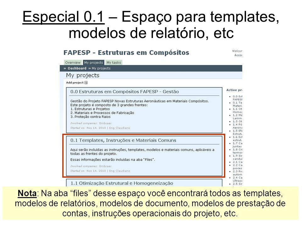 Especial 0.1 – Espaço para templates, modelos de relatório, etc Nota: Na aba files desse espaço você encontrará todos as templates, modelos de relatór