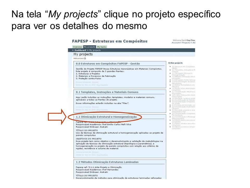 Na tela My projects clique no projeto específico para ver os detalhes do mesmo