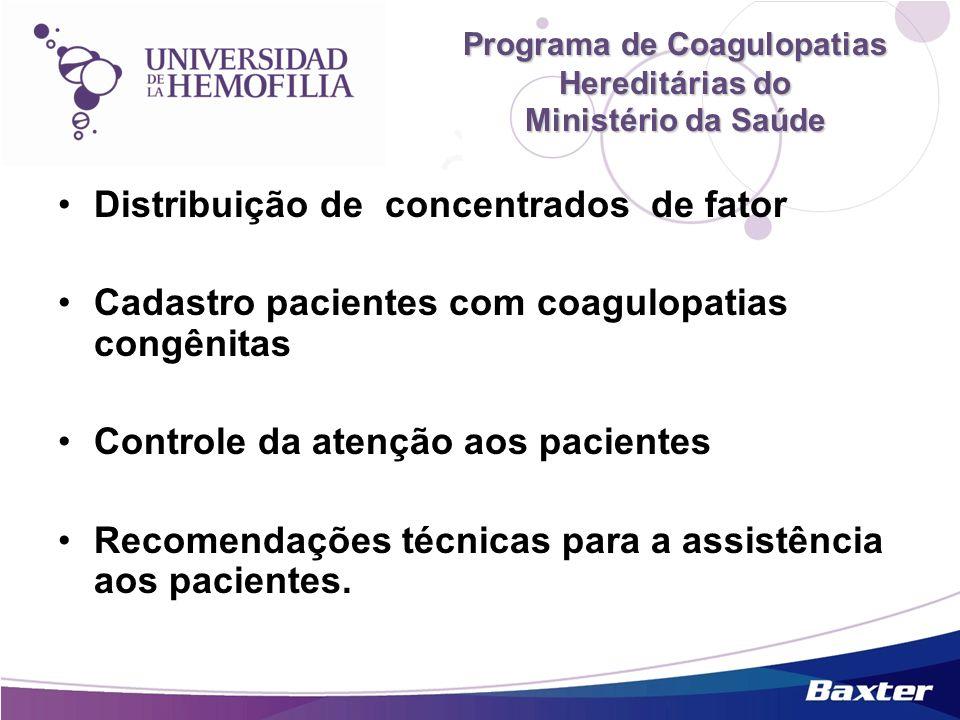 Programa de Coagulopatias Hereditárias do Ministério da Saúde Distribuição de concentrados de fator Cadastro pacientes com coagulopatias congênitas Co