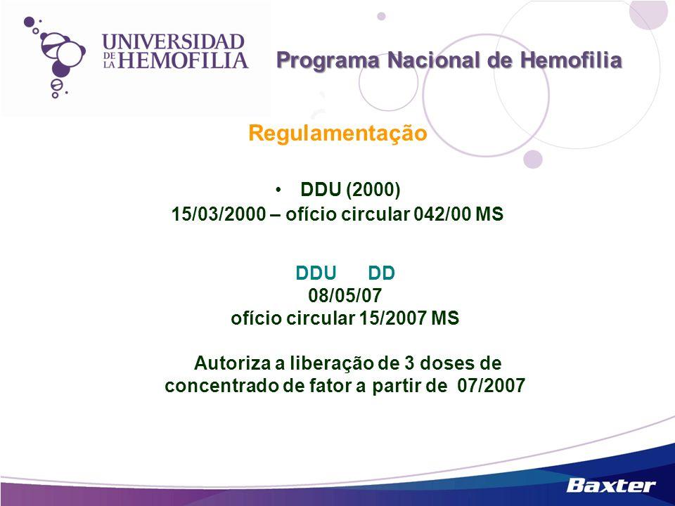 Regulamentação DDU (2000) 15/03/2000 – ofício circular 042/00 MS Programa Nacional de Hemofilia DDU DD 08/05/07 ofício circular 15/2007 MS Autoriza a