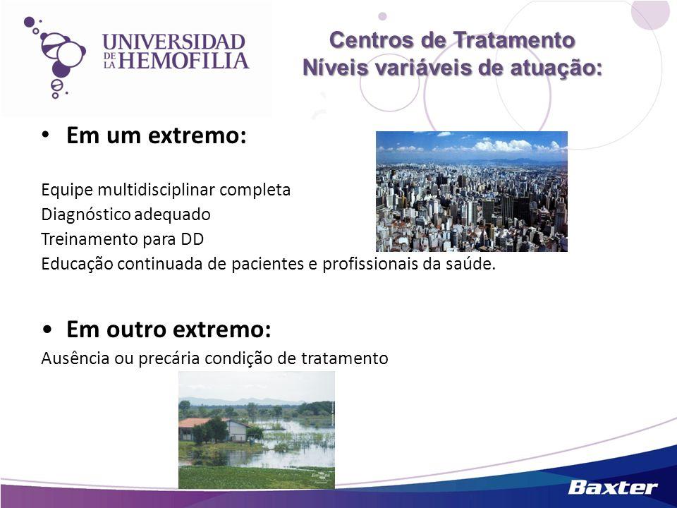 Centros de Tratamento Níveis variáveis de atuação: Centros de Tratamento Níveis variáveis de atuação: Em um extremo: Equipe multidisciplinar completa