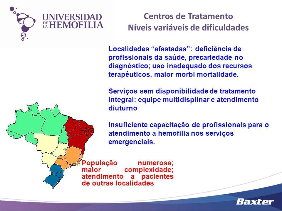 Centros de Tratamento Níveis variáveis de dificuldades População numerosa; maior complexidade; atendimento a pacientes de outras localidades Localidad
