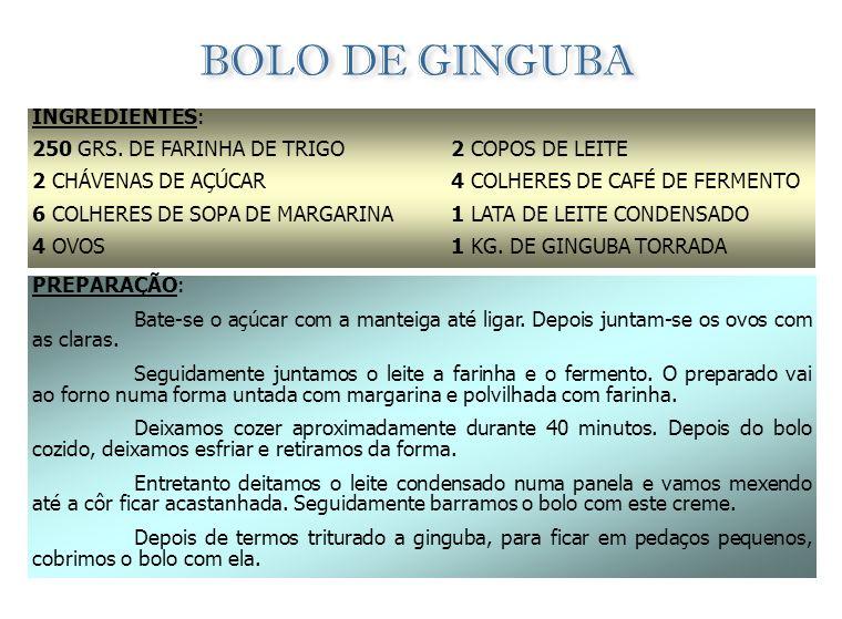 PARACUCA INGREDIENTES: 1 KG. DE GINGUBA NATURAL (SEM SER TORRADA) 1 KG. DE AÇÚCAR 1 LT. DE ÁGUA PREPARAÇÃO: Deitam-se todos os ingredientes numa panel
