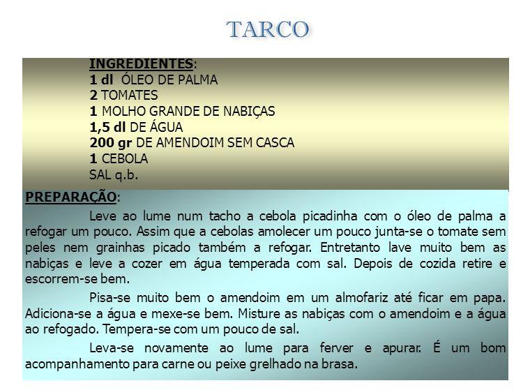FEIJÃO COM ÓLEO DE PALMA (Dendem) INGREDIENTES: - ÓLEO DE PALMA 1 CEBOLA 2 DENTES DE ALHO PICADO - FEIJÃO COZIDO PREPARAÇÃO: Numa panela refogue um po