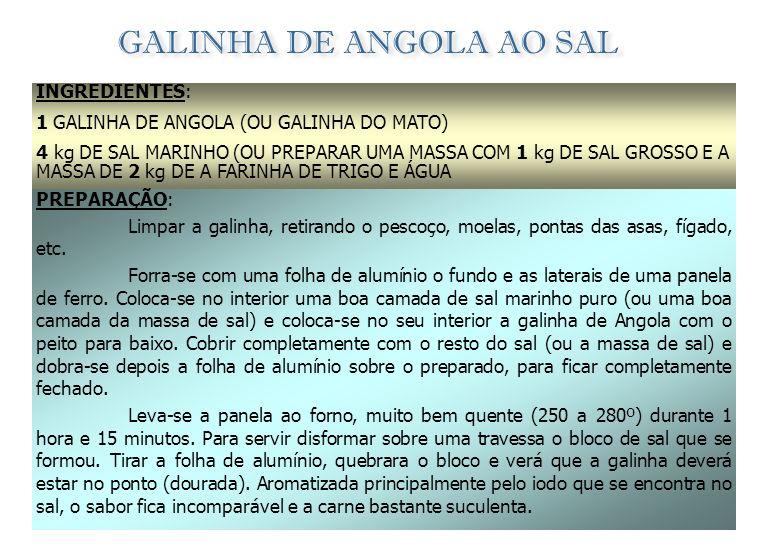 CALDEIRADA DE CABRITO À ANGOLANA INGREDIENTES: (oito pessoas) 1 CABRITO (4 MESES); 1 BOM RAMO DE SALS; SAL q.b.; PIMENTA q.b.; 2 CEBOLAS GRANDES; 5 dl