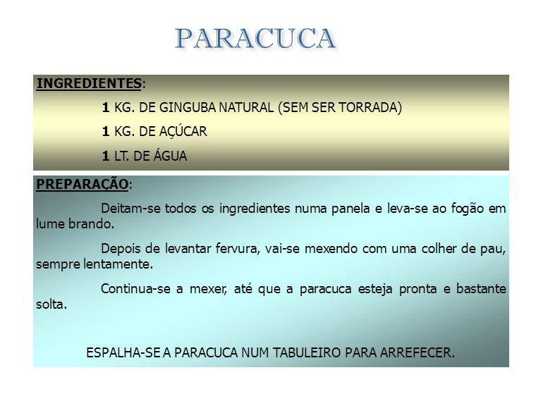 COCADA INGREDIENTES: 500 GRS.DE AÇÚCAR 250 GRS.