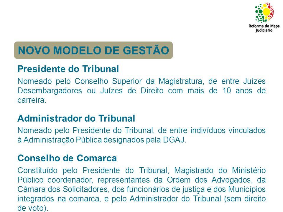 Competências: Presidente do Tribunal Competências de representação e de direcção, de gestão processual, administrativa e funcional.