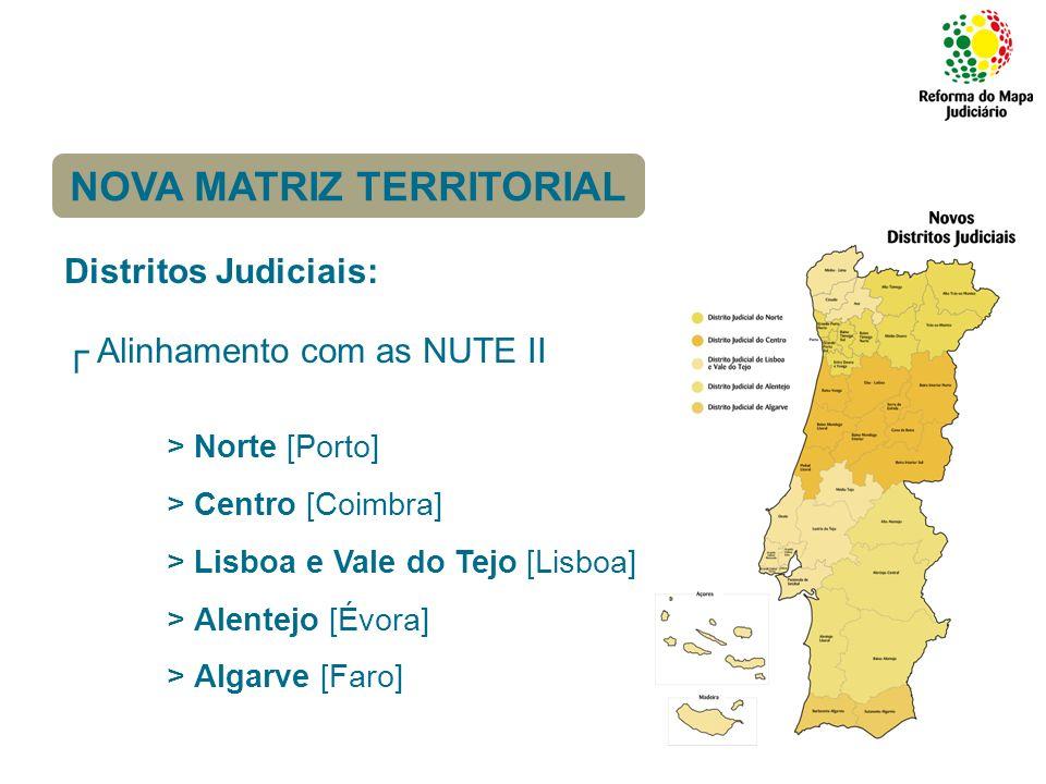 Comarcas [circunscrições de base]: Criação de 39 comarcas com base nas NUTE III (em resultado da agregação das actuais 231 comarcas); Manutenção dos actuais tribunais; Tribunal de Comarca constituído pela agregação dos actuais tribunais.