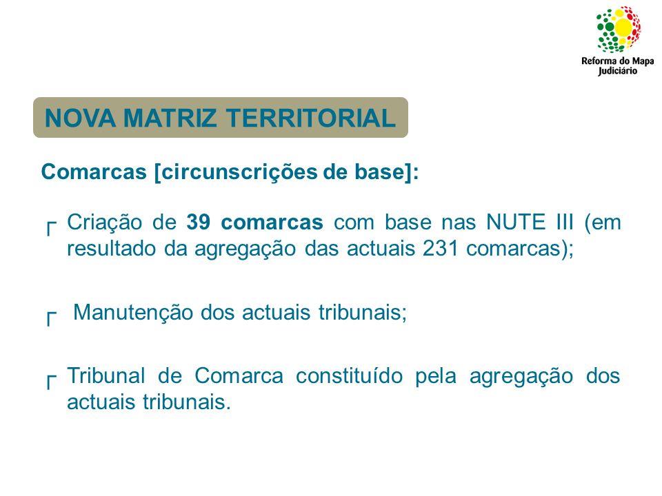 Comarcas [circunscrições de base]: Criação de 39 comarcas com base nas NUTE III (em resultado da agregação das actuais 231 comarcas); Manutenção dos a