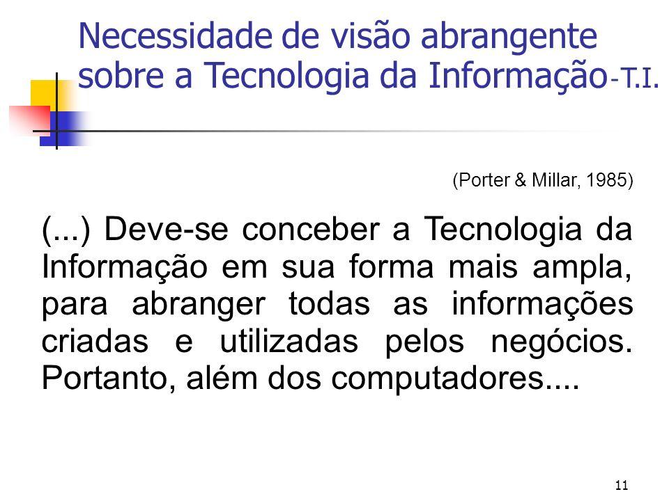 11 (Porter & Millar, 1985) (...) Deve-se conceber a Tecnologia da Informação em sua forma mais ampla, para abranger todas as informações criadas e uti