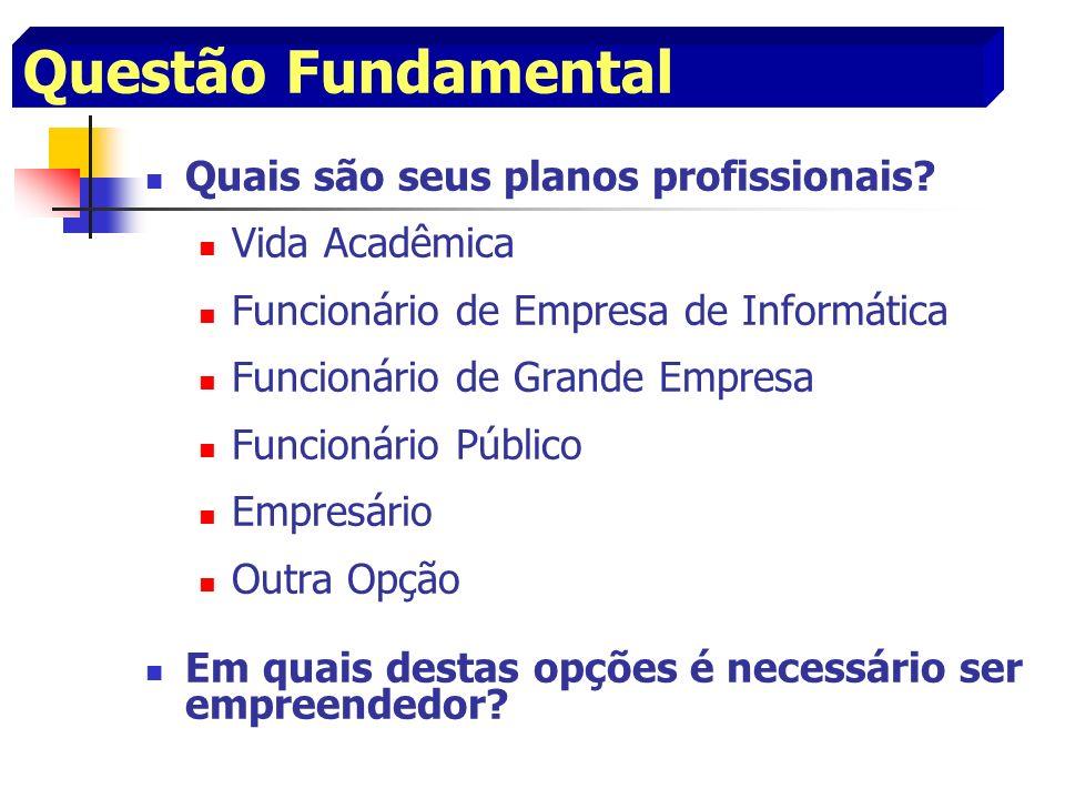 Questão Fundamental Quais são seus planos profissionais? Vida Acadêmica Funcionário de Empresa de Informática Funcionário de Grande Empresa Funcionári