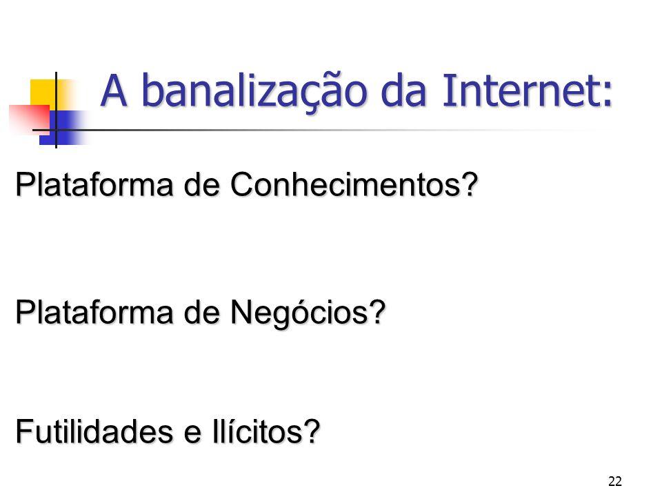 22 A banalização da Internet: Plataforma de Conhecimentos? Plataforma de Negócios? Futilidades e Ilícitos?