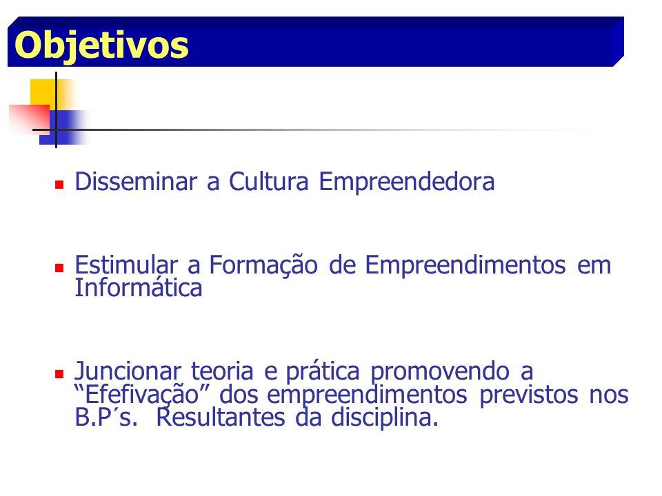 Objetivos Disseminar a Cultura Empreendedora Estimular a Formação de Empreendimentos em Informática Juncionar teoria e prática promovendo a Efefivação